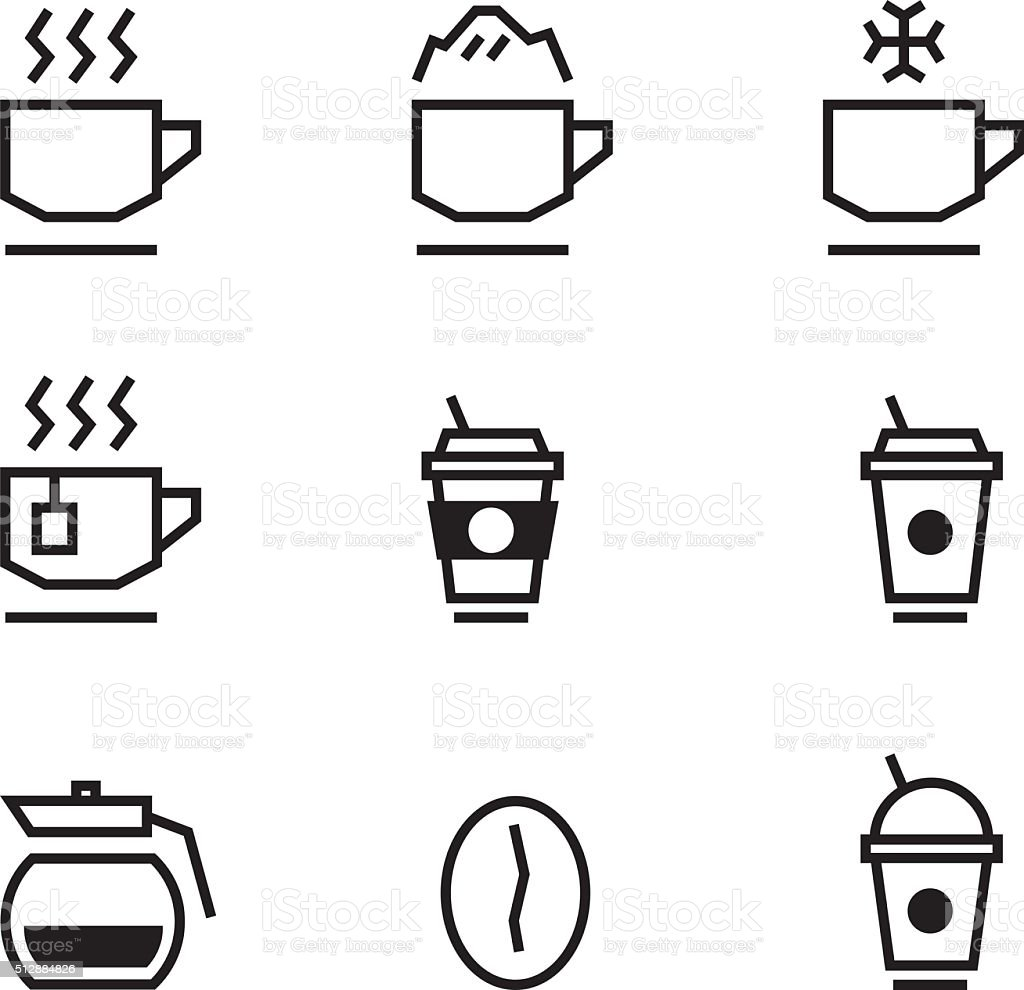 Coffee and Coffee cup Icons with White Background vector art illustration