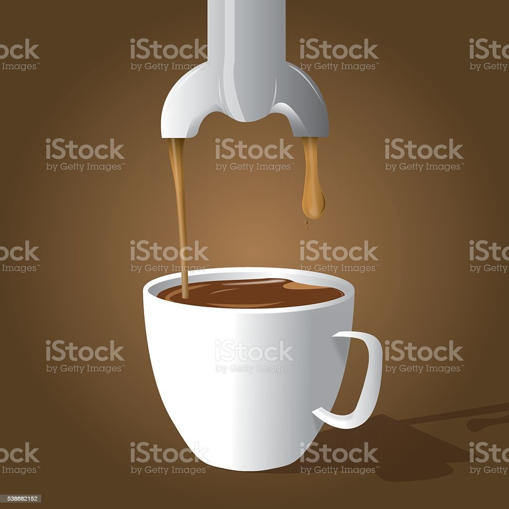 coffee and coffee maker vector art illustration