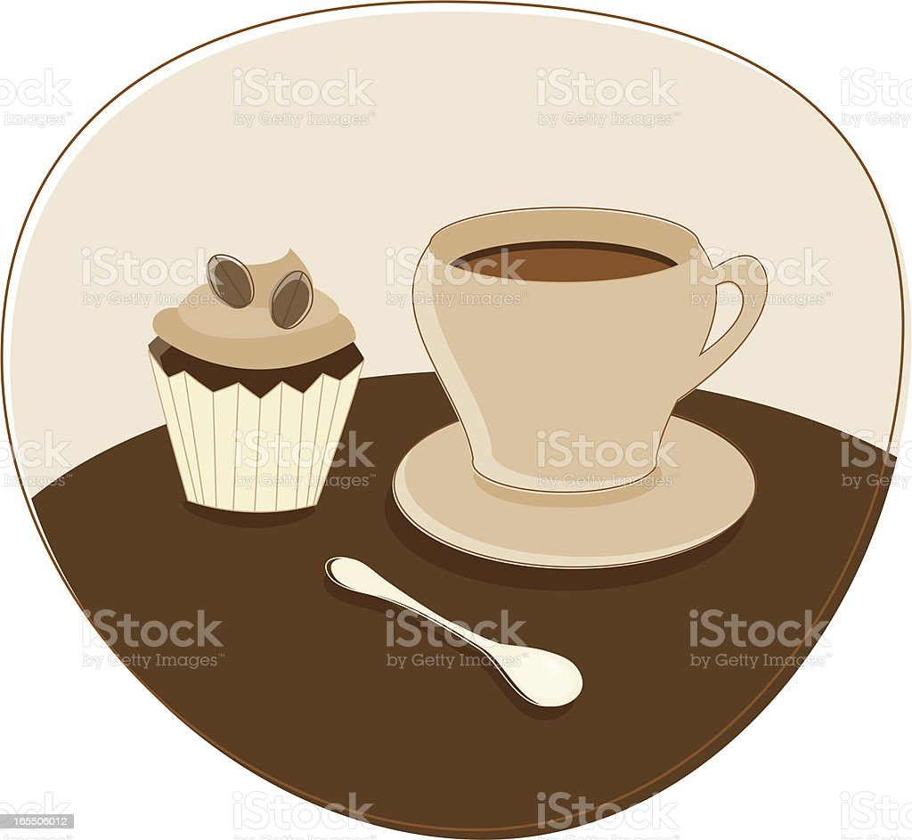 Coffee and Cupcake vector art illustration