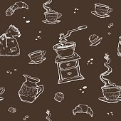 Coffee and dessert vector seamless pattern. Food elements isolated on