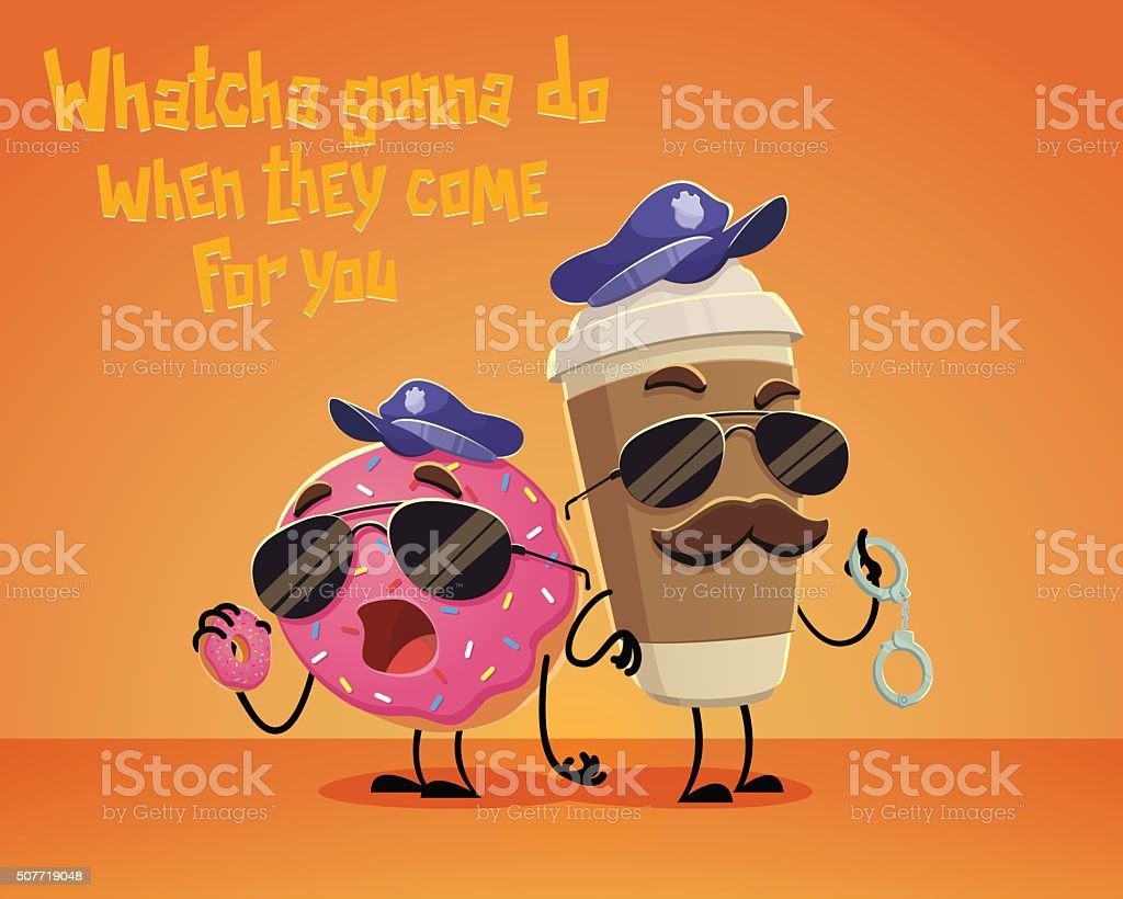 Coffee and Donut Cops vector art illustration