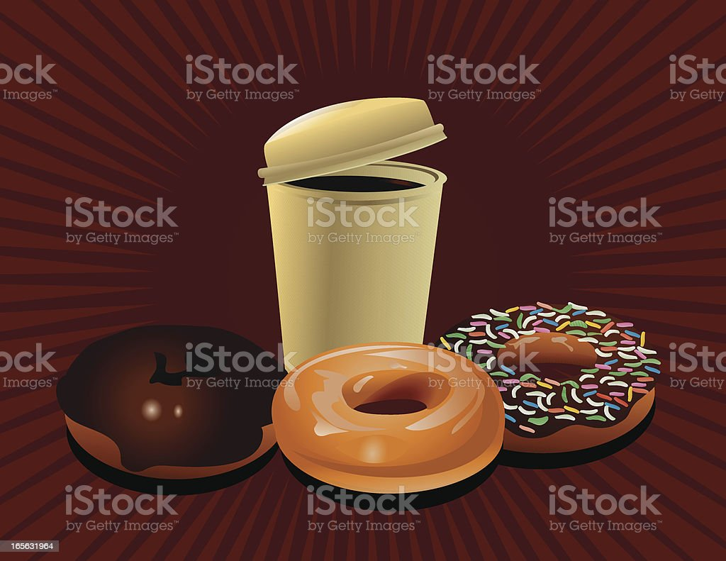 Coffee and donuts royalty-free stock vector art