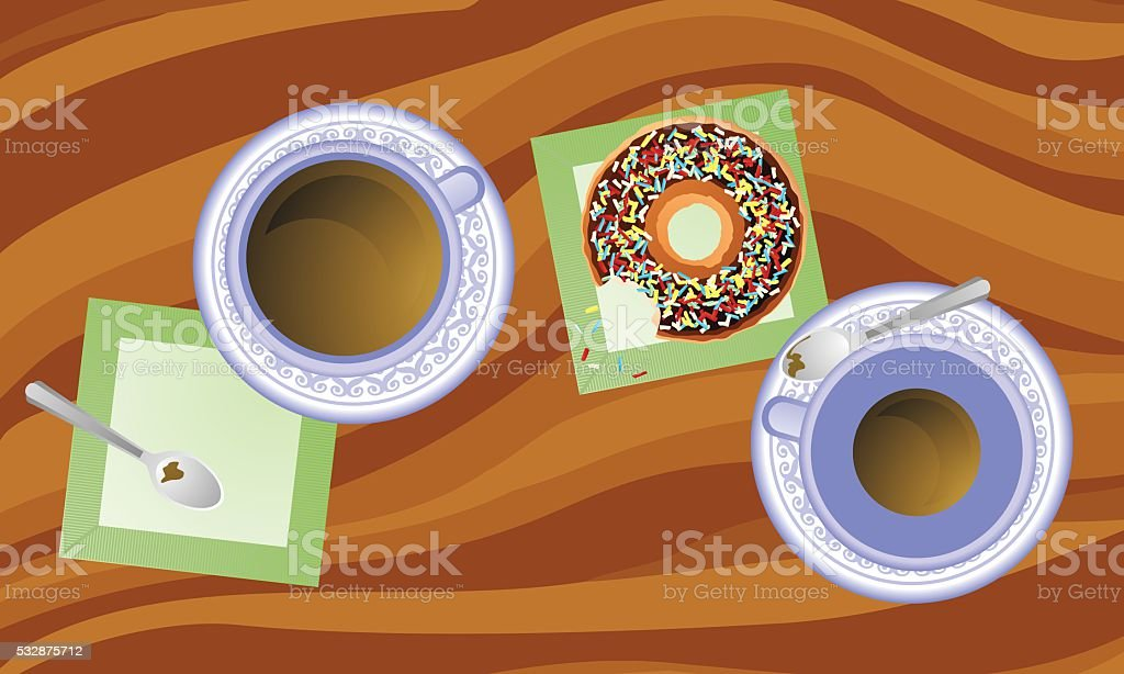 Coffee and Donuts vector art illustration