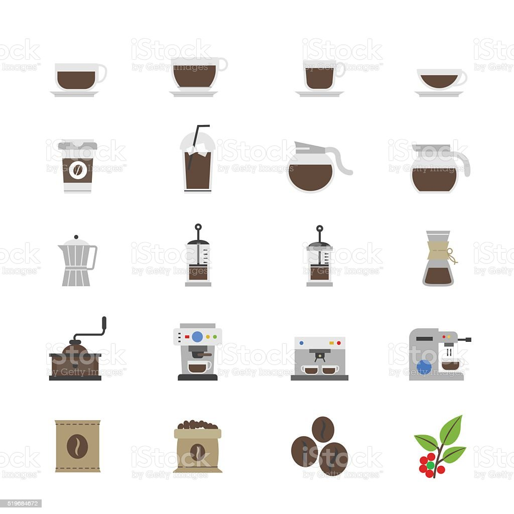 Coffee and Drink Flat Color Icons vector art illustration