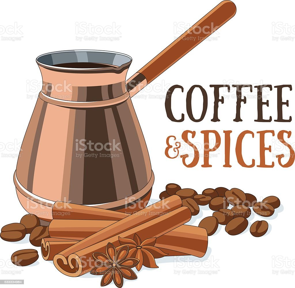 Coffee and spices vector art illustration