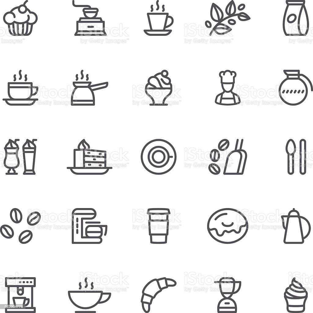 Coffee and Tea, cafe icon vector art illustration