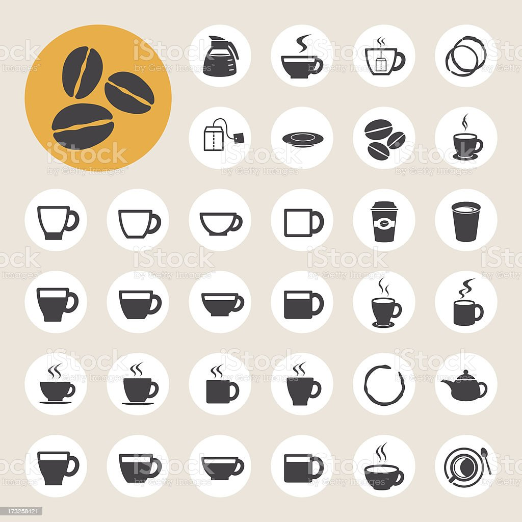 Coffee  and Tea cup icon set. vector art illustration