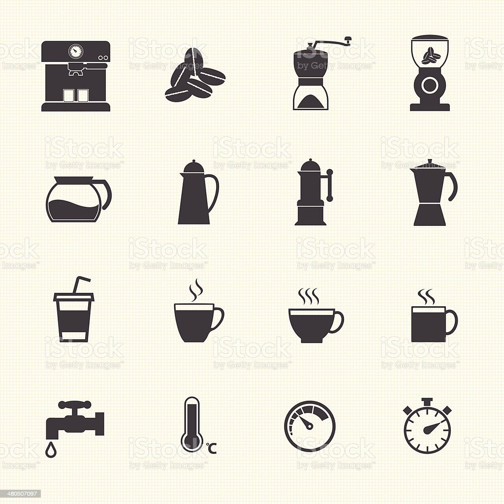 Coffee and Tea cup icons. vector art illustration