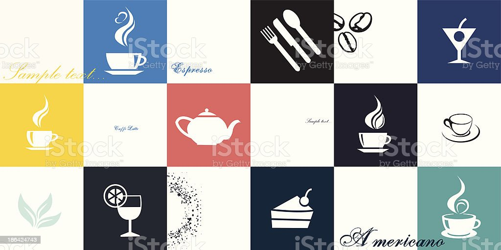 Coffee and tea cup set. Vector icon collection vector art illustration