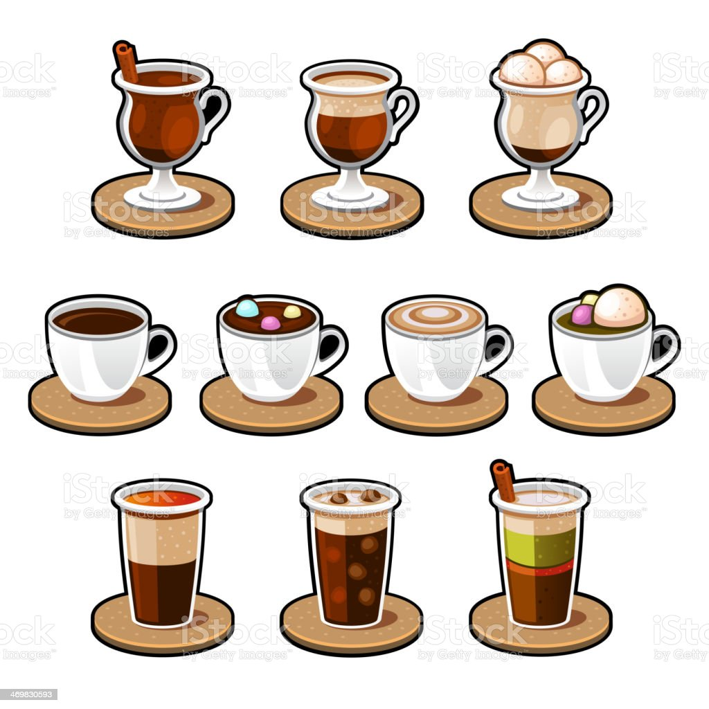Coffee and tea cup set. royalty-free stock vector art