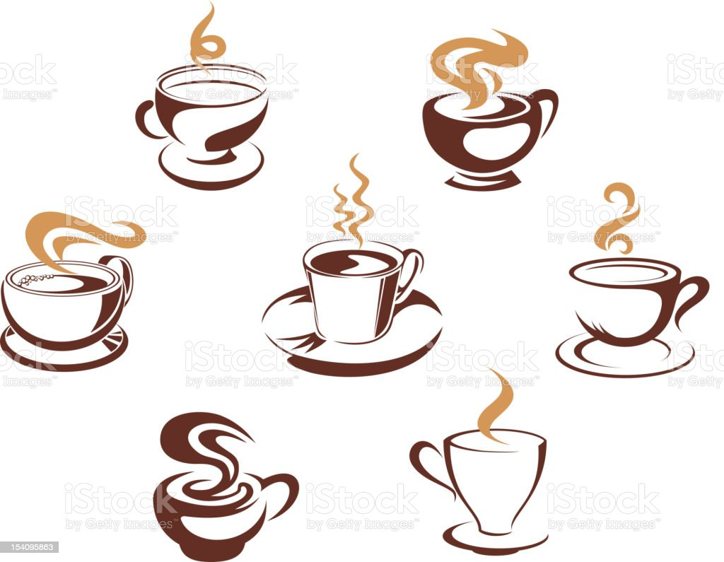 Coffee and tea cups royalty-free stock vector art