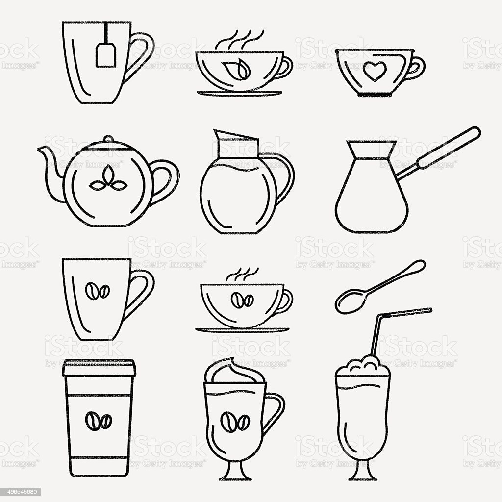 Coffee and tea cups. vector art illustration