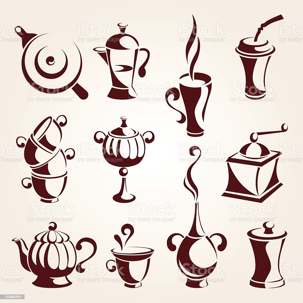 coffee and tea elements set royalty-free stock vector art