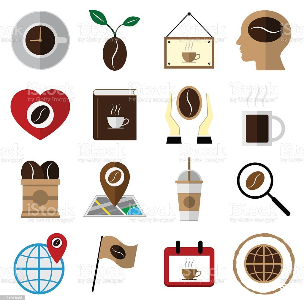 coffee and tea flat icons vector illustration vector art illustration