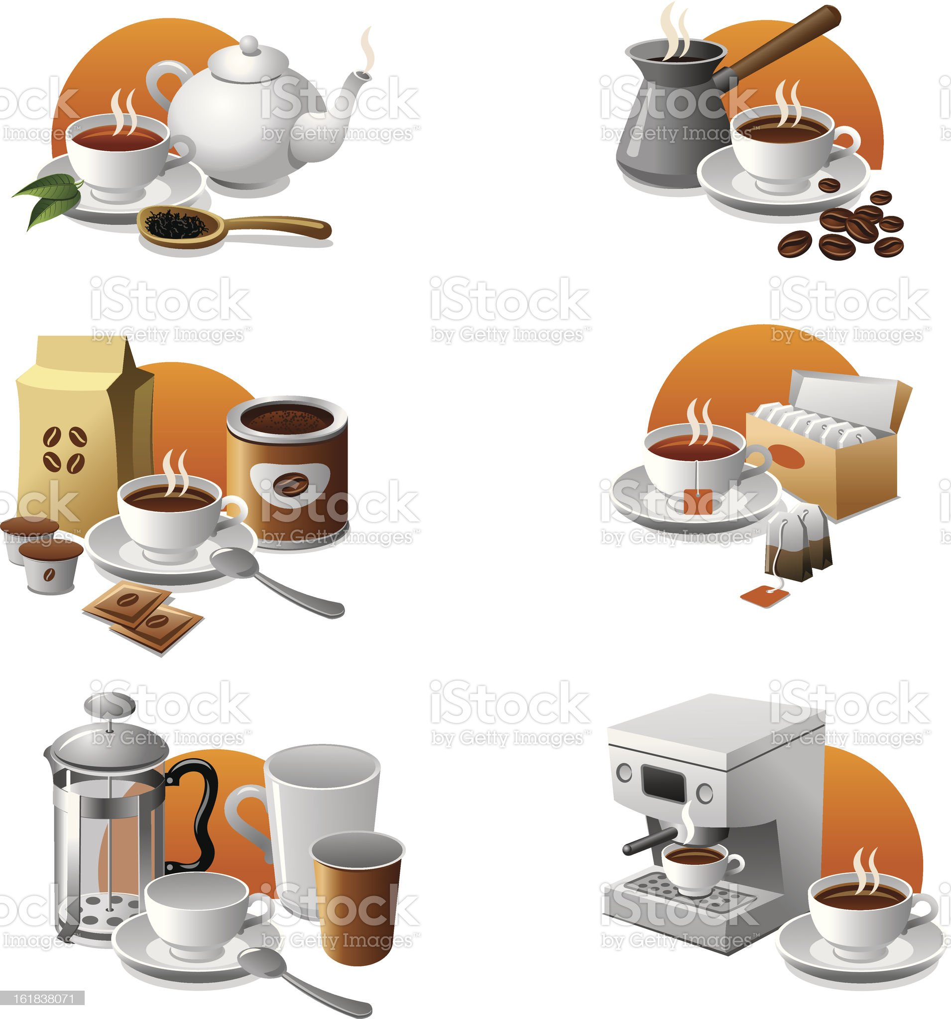 coffee and tea icon set royalty-free stock vector art