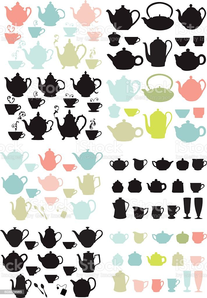 coffee and tea pots and mugs, vector vector art illustration