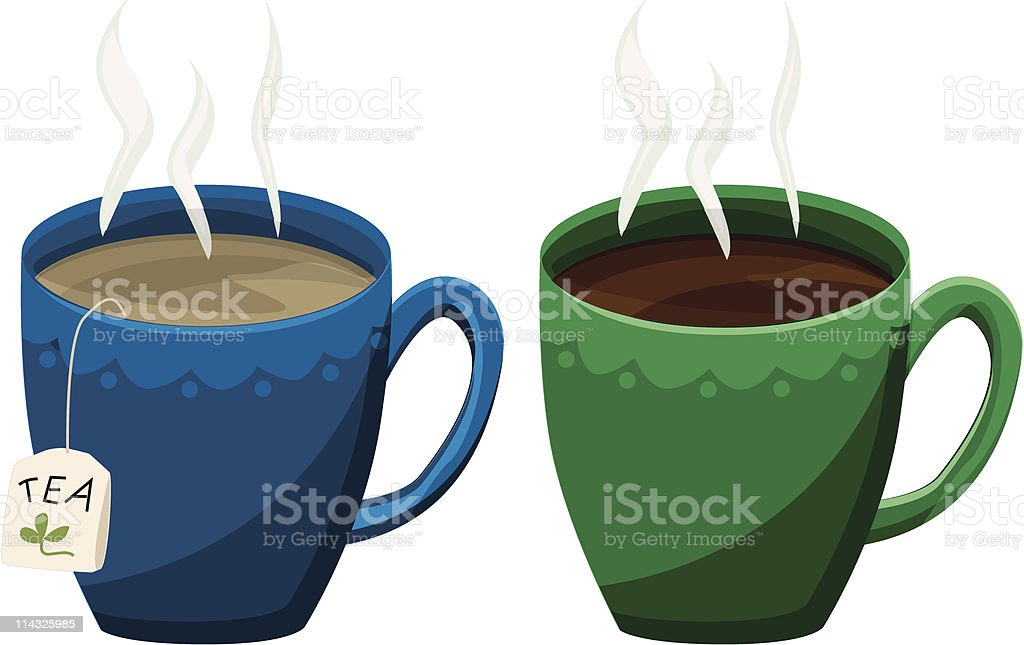 Coffee and Tea Too royalty-free stock vector art