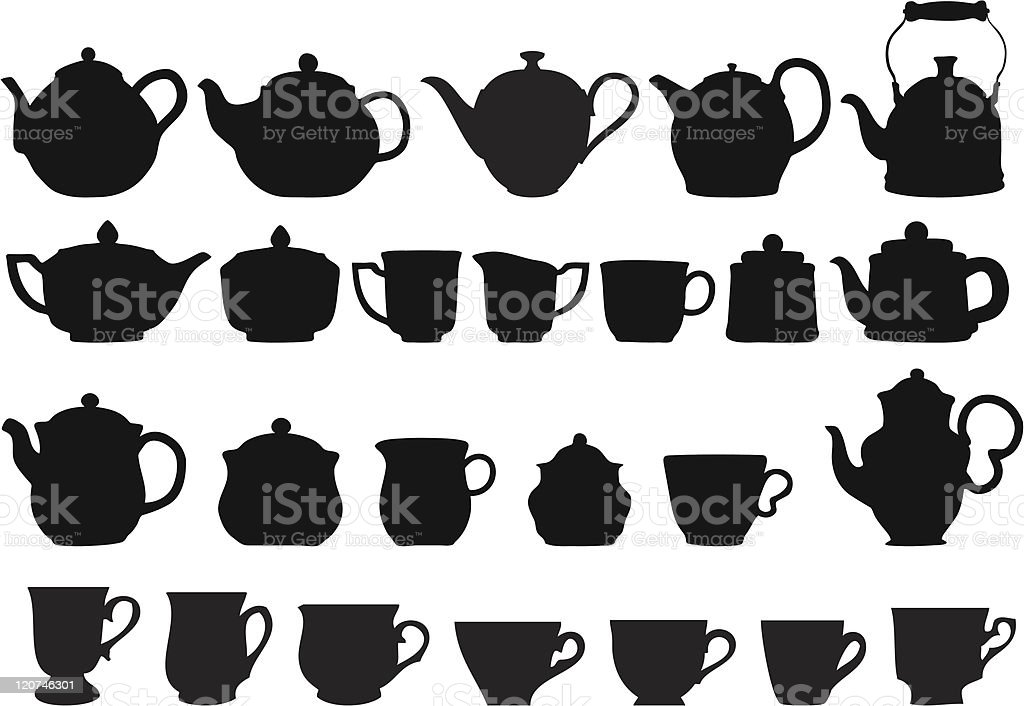 coffee and tea vector art illustration