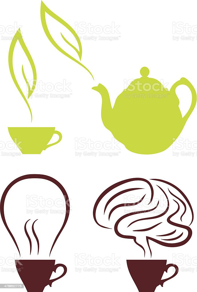 coffee and tea, vector set royalty-free stock vector art