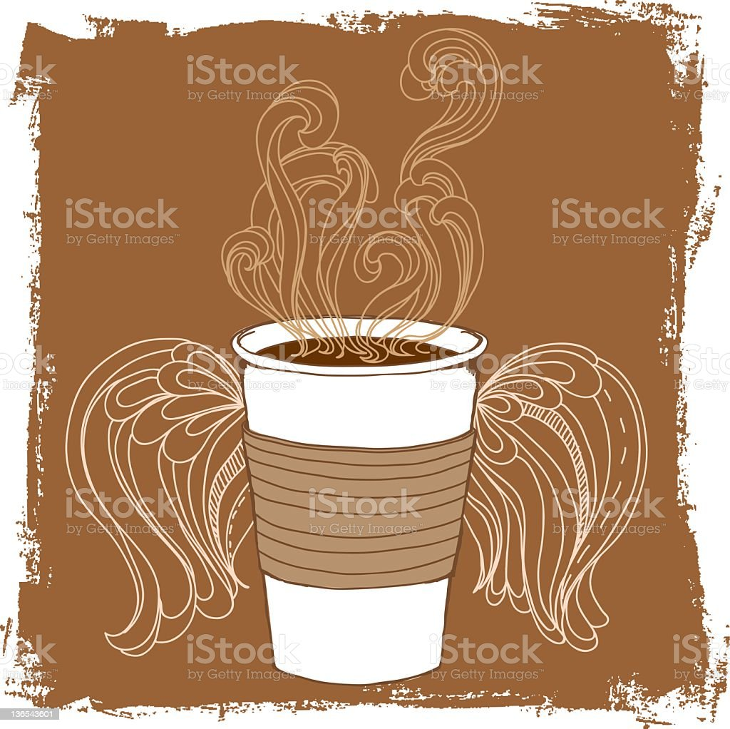 Coffee and wings 2 royalty-free stock vector art