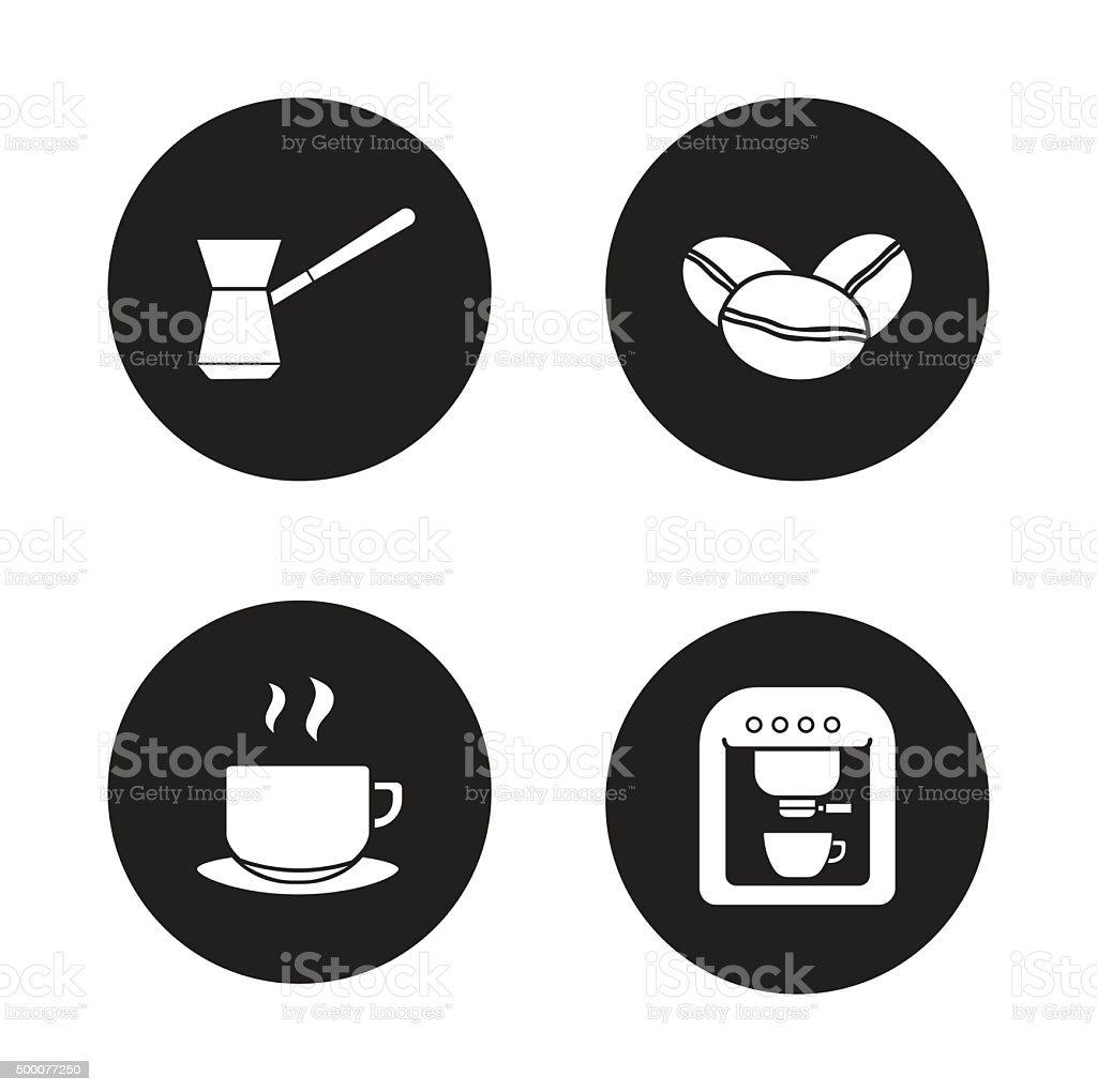Coffee appliances black icons set vector art illustration