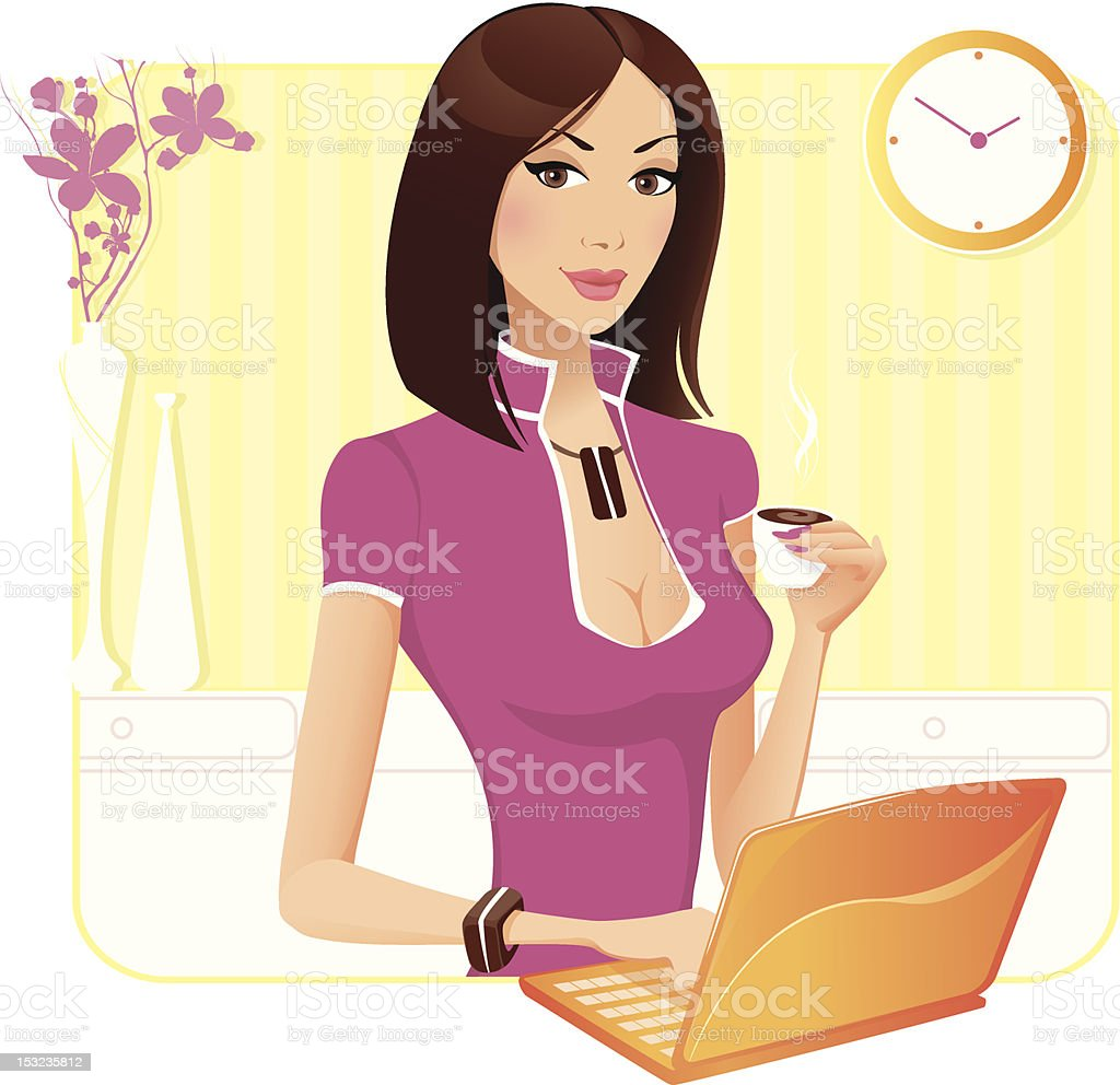 Coffee at work royalty-free stock vector art