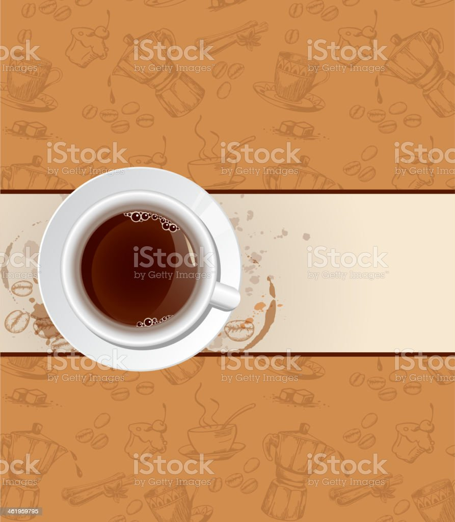 Coffee background and cup vector art illustration