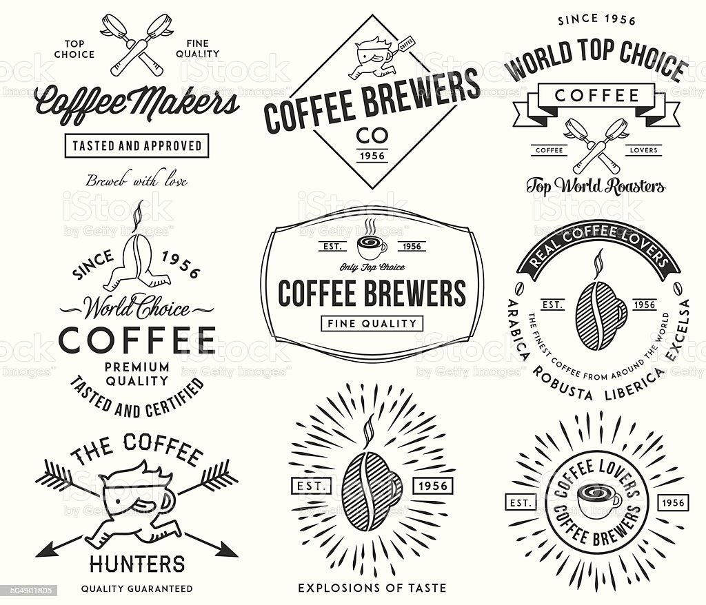 Coffee badges and labels black vector art illustration