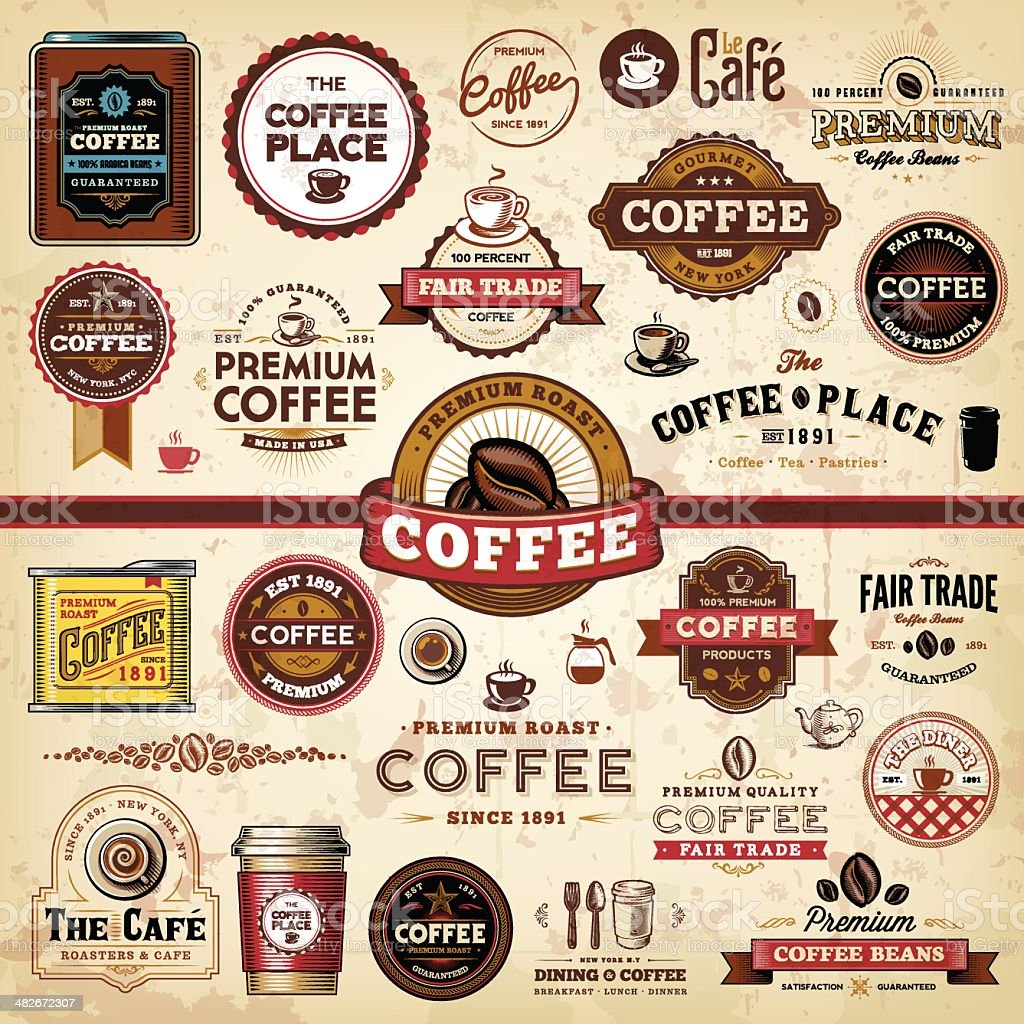 Coffee Badges & Labels vector art illustration