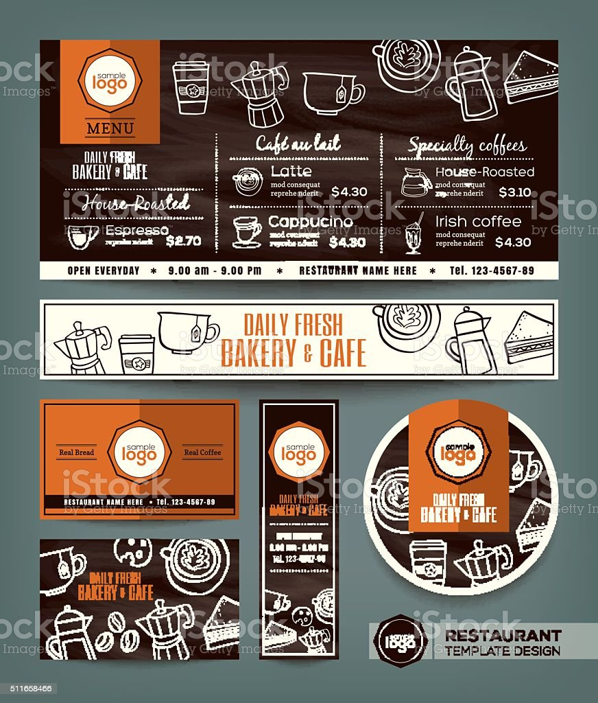 Coffee Bakery shop cafe set menu design template vector art illustration
