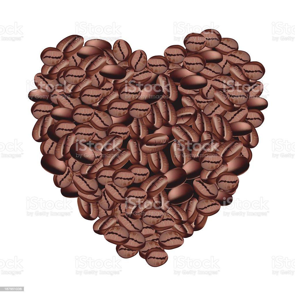 Coffee bean heart royalty-free stock vector art