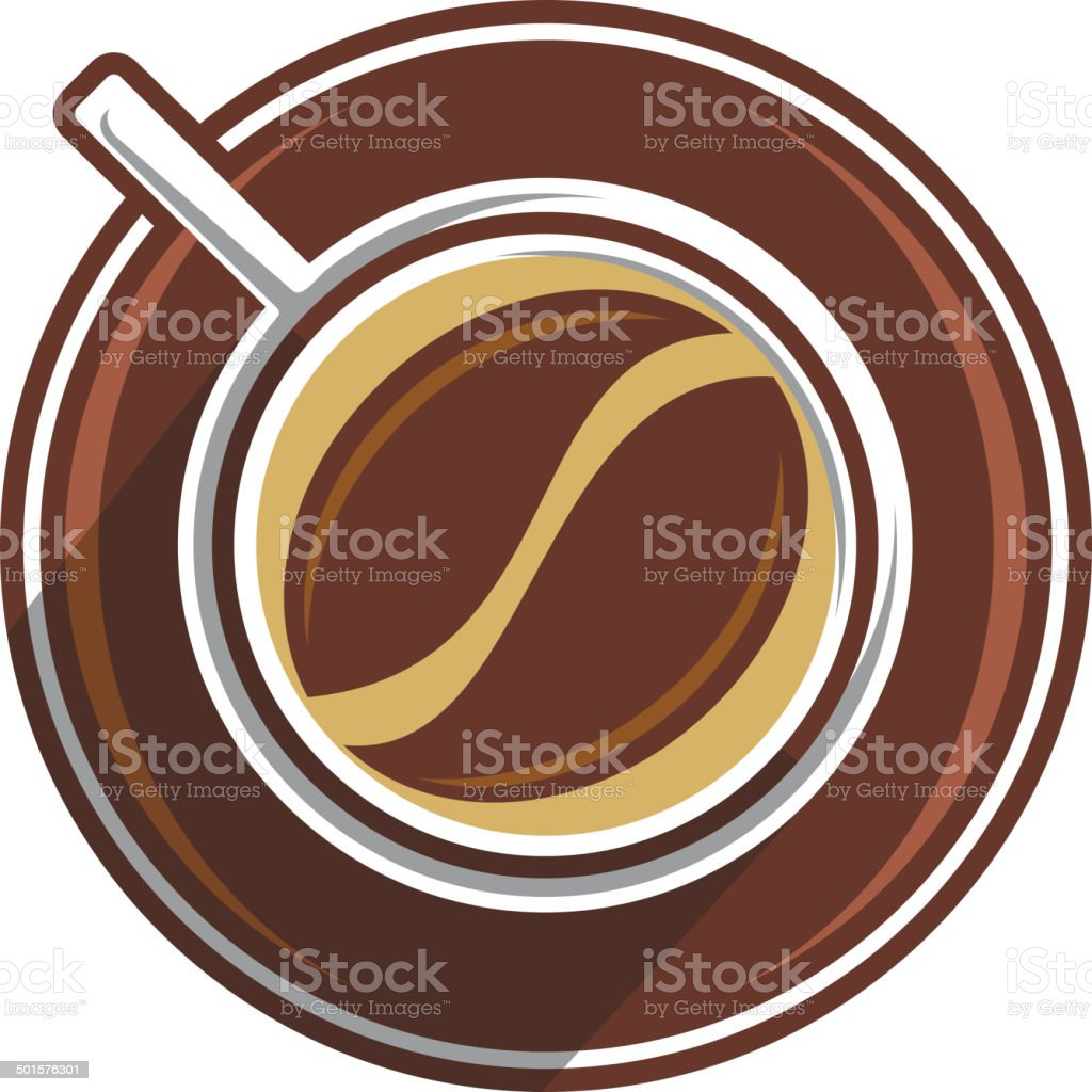 Coffee bean in a coffee cup royalty-free stock vector art