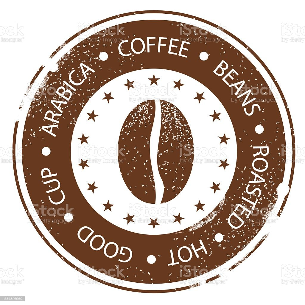 Coffee Bean Vintage Menu Stamp. Hot, Roasted Distressed Round Label vector art illustration