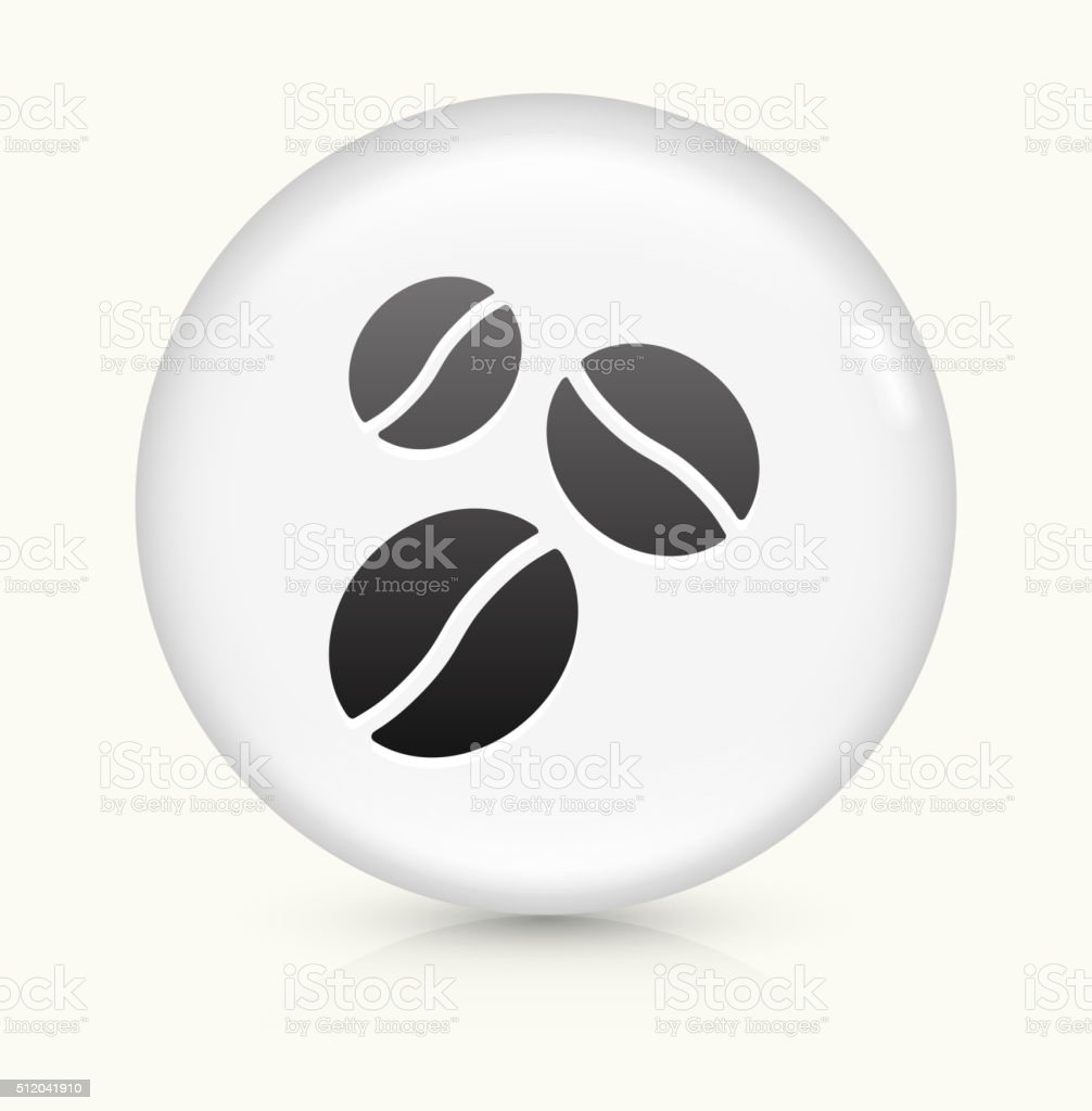 Coffee Beans icon on white round vector button vector art illustration