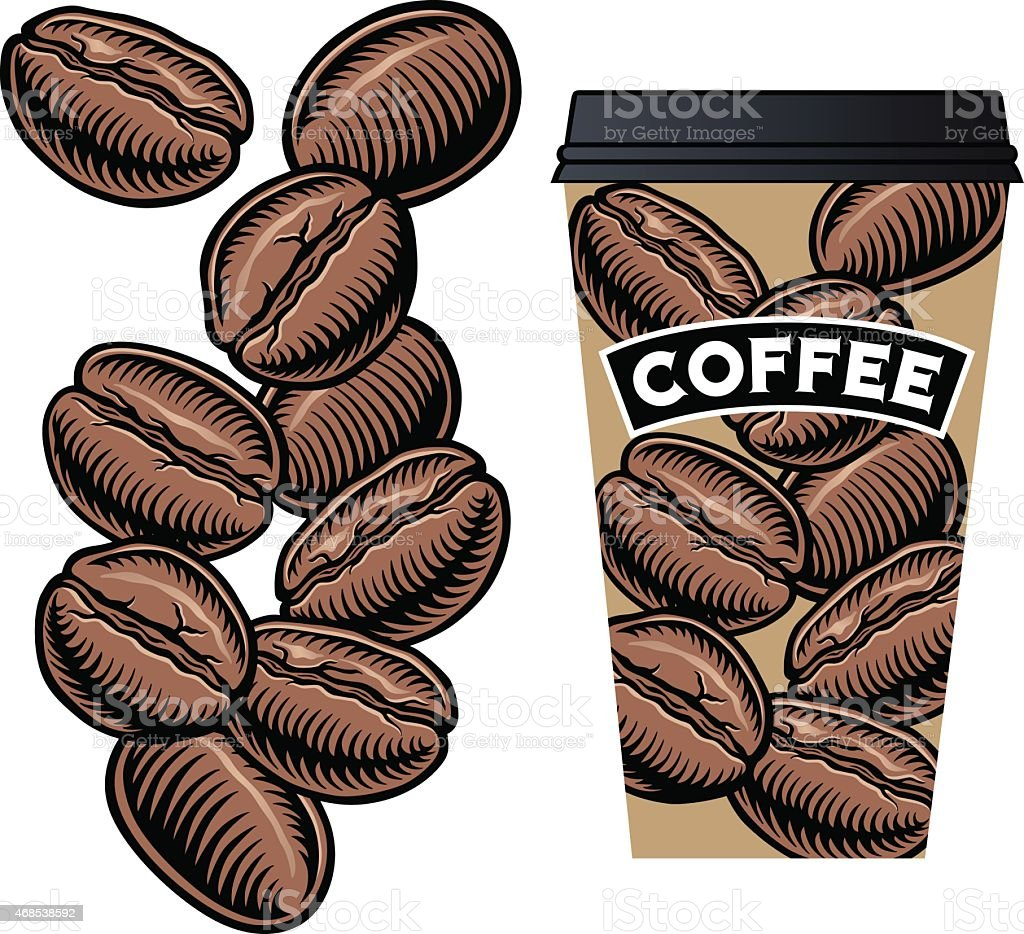 Coffee Beans with Coffee Cup with Lid vector art illustration