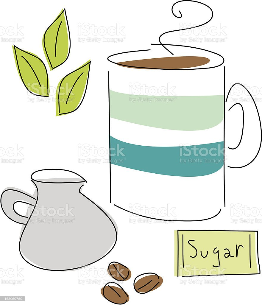 Coffee Break Drawn Design Elements vector art illustration