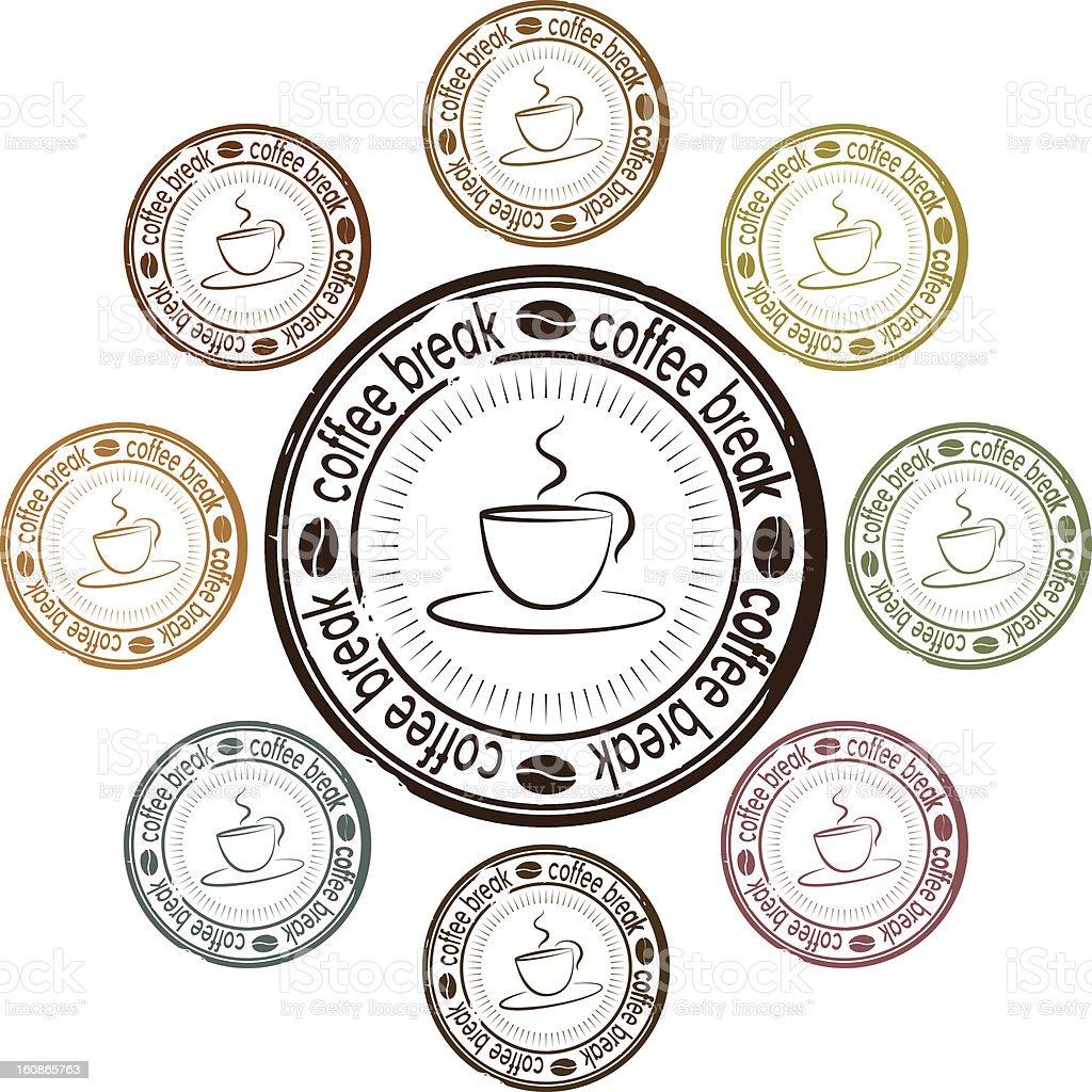 coffee break set of stamps royalty-free stock vector art