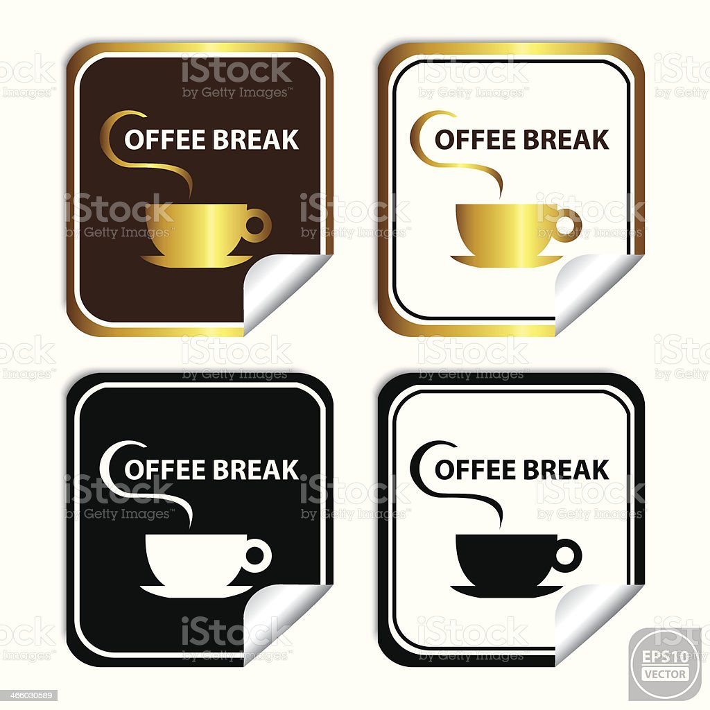 Coffee Break Stickers, Signs, Symbols, Labels, Icons. royalty-free stock vector art