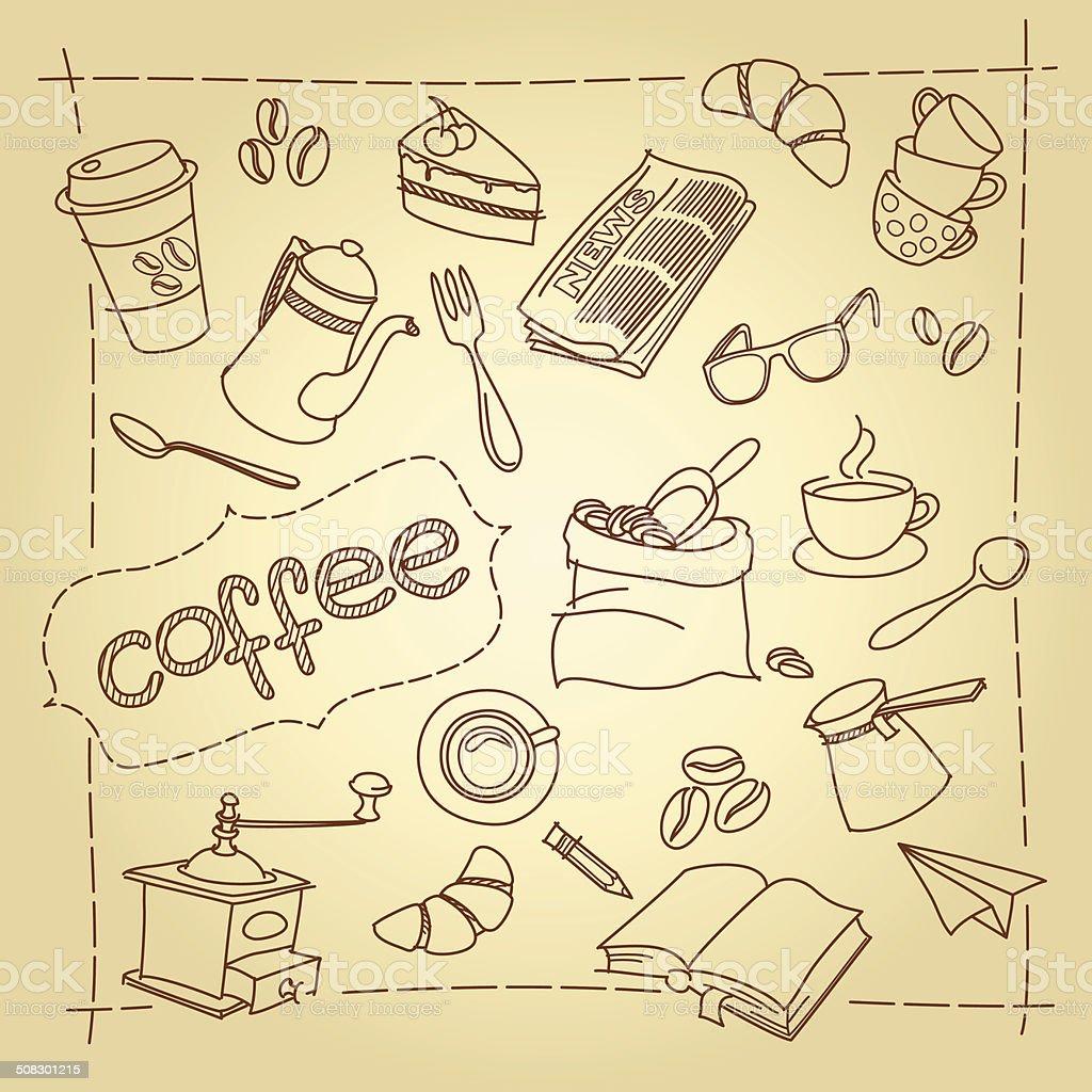 Coffee break vetor fundo de rabiscos vetor e ilustração royalty-free royalty-free