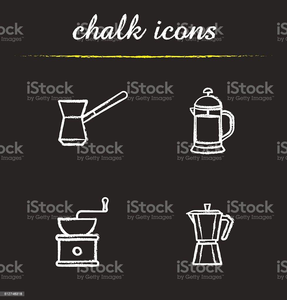 Coffee brewing equipment icons vector art illustration