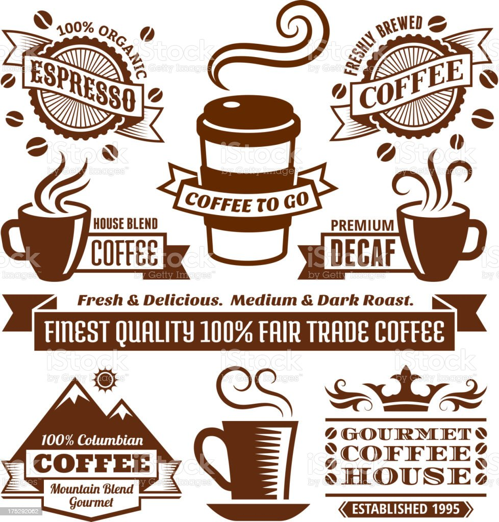 Coffee & Cafe Elegant royalty-free vector arts, Banners Labels Collection vector art illustration