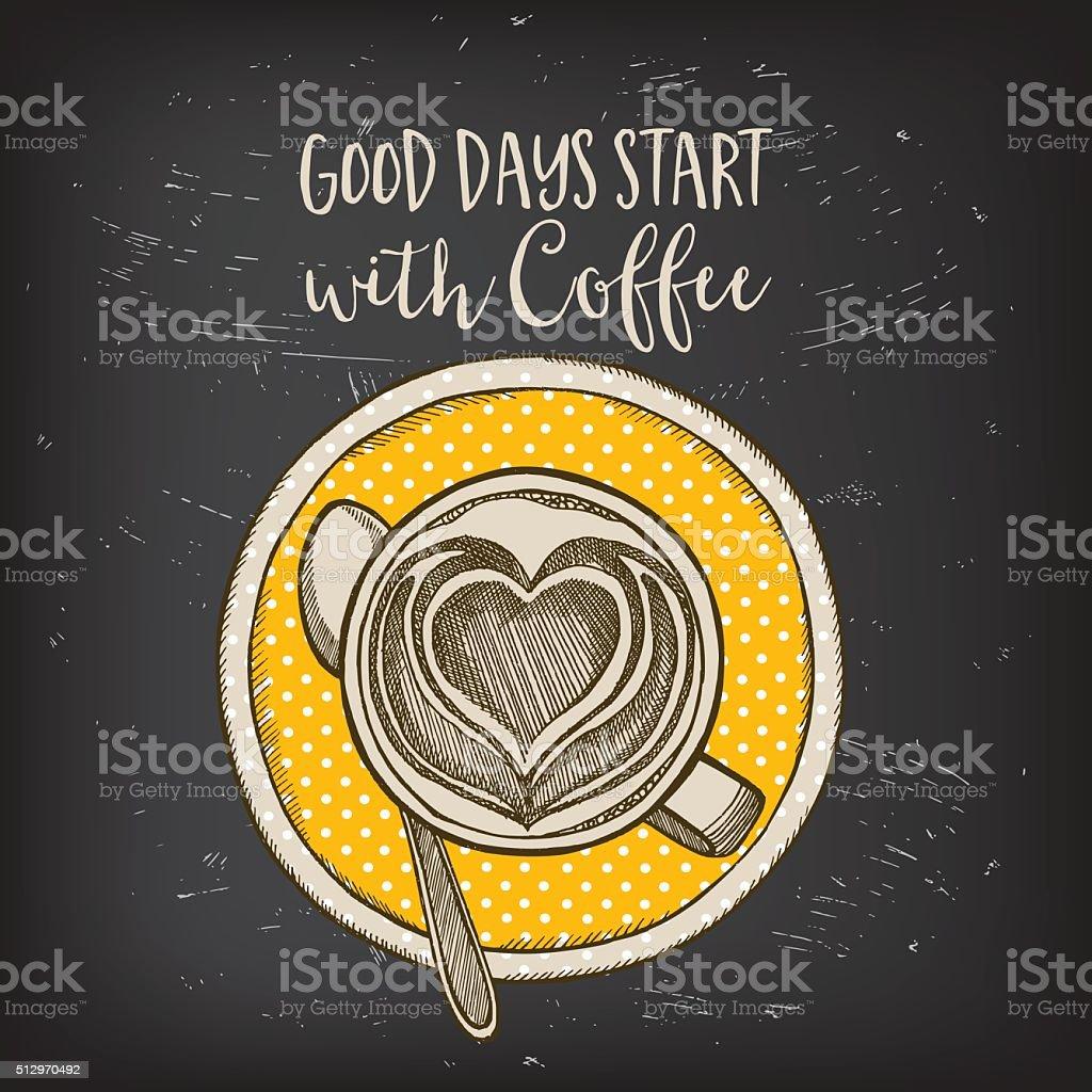 Coffee cafe menu, template design. vector art illustration
