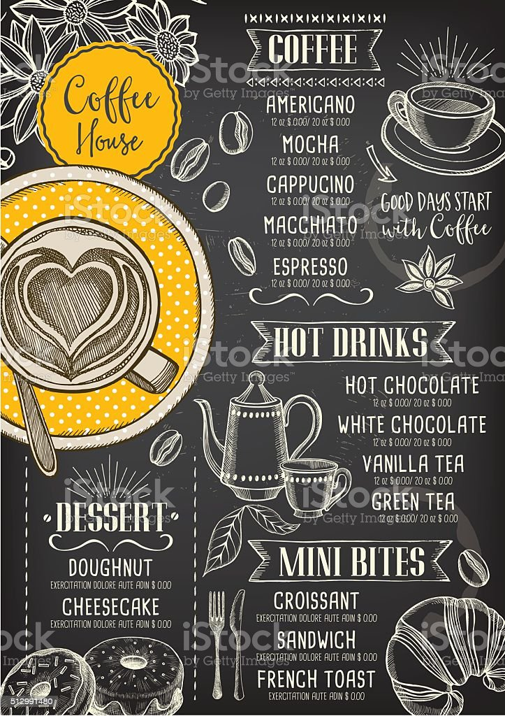 Coffee cafe menu, template design. vector art illustration