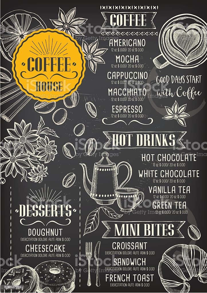 Coffee Cafe Menu Template Design Stock Vector Art 526547994 | Istock