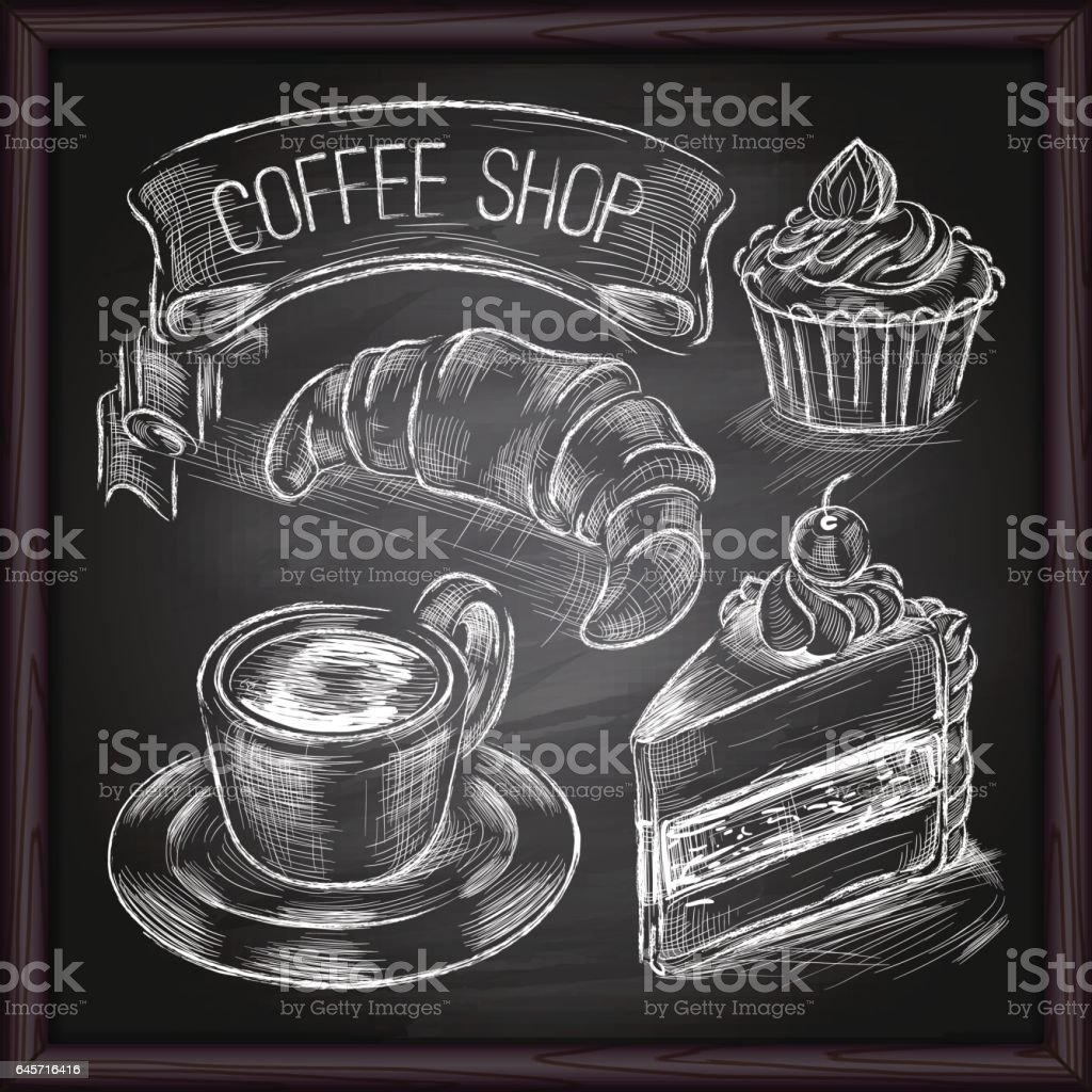 Coffee & Cafe set drawing on chalkboard vector art illustration
