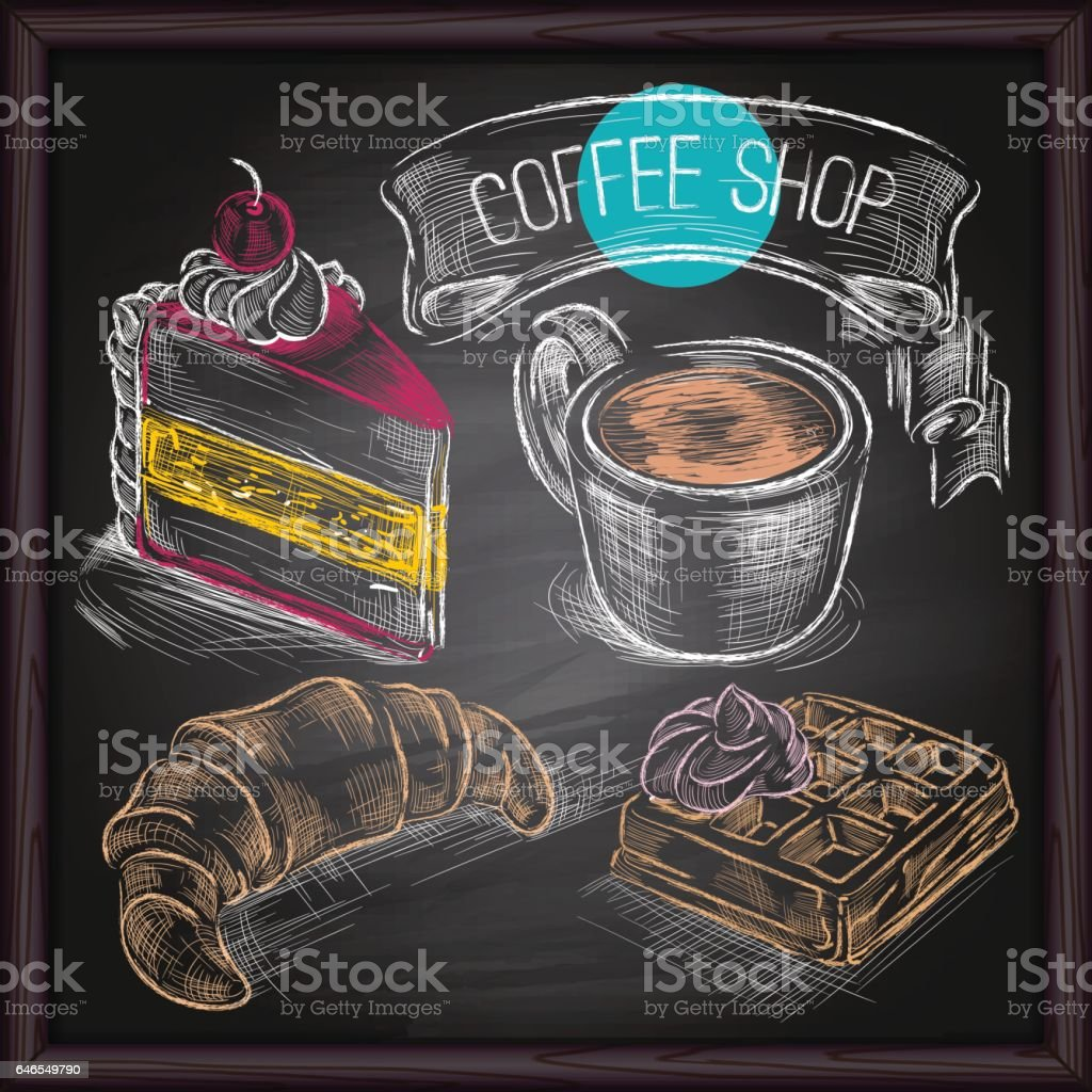 Coffee & Cakes  drawing on chalkboard vector art illustration