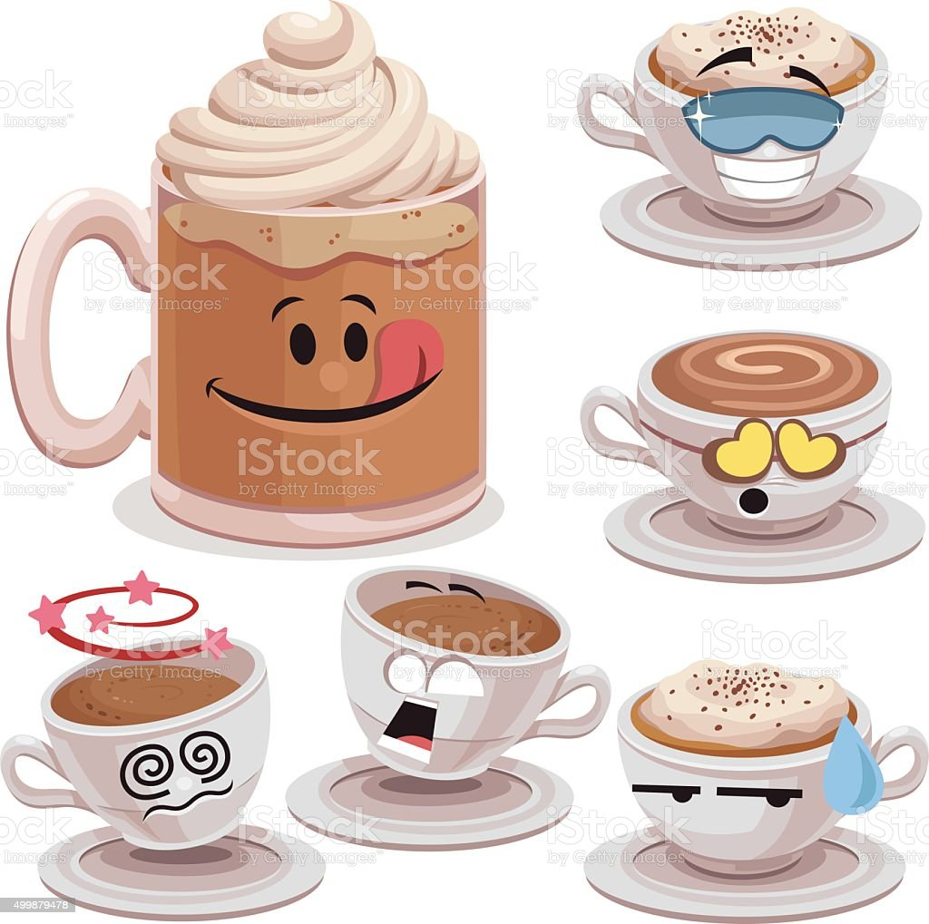 Coffee Cartoon Set A vector art illustration