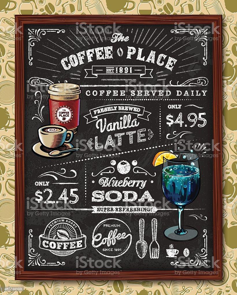 Coffee Chalkboard Elements vector art illustration