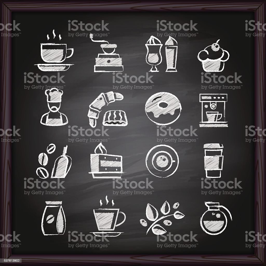 Coffee chalkboard icons vector art illustration