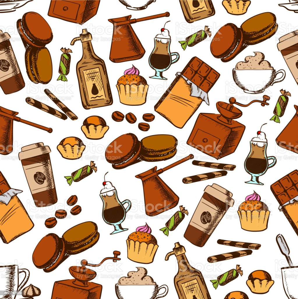 Coffee, chocolate and pastries seamless pattern vector art illustration